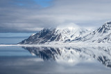 Mountain reflection with snow