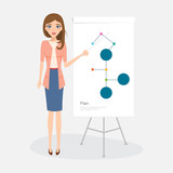 business woman people character presenting of work. secretary character. vector people design.