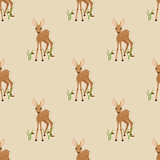 Seamless pattern with a fawn on a beige background.