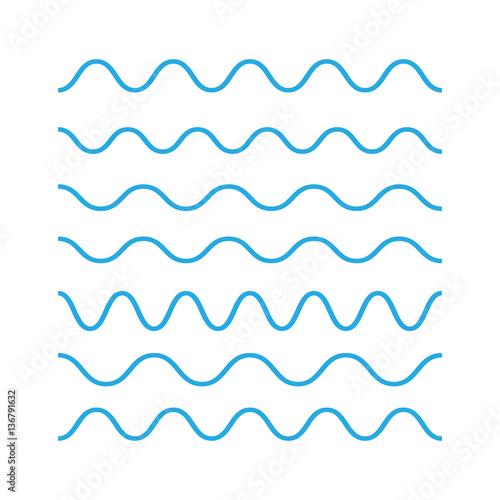 Waves outline icon, modern minimal flat design. Wave thin line s