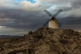 Traditional white windmill in Consuegra, Toledo, Spain.