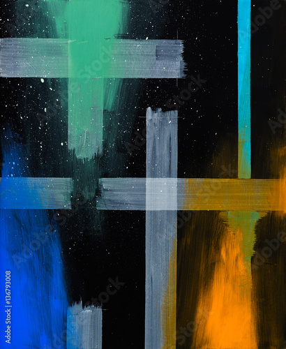 Geometric abstract painting on a black background, with overlaid clouds of colour. - 136793008
