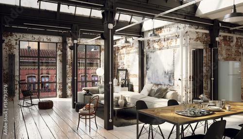 fototapeta vintage loft industrial downtown apartment. Black Bedroom Furniture Sets. Home Design Ideas