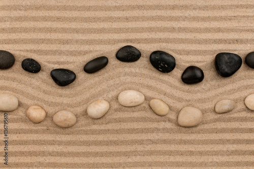 Two rows of stones lying on the sand, with space for text.