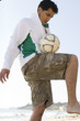 Portrait of a Hispanic man playing soccer.