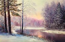 """Постер, картина, фотообои """"Painting winter forest"""""""