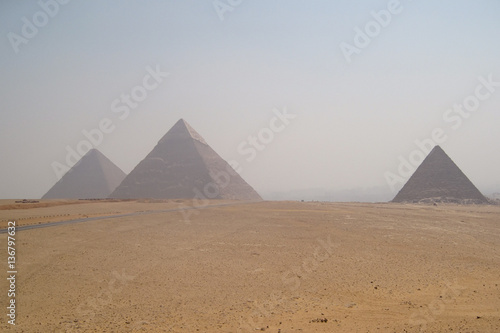 The pyramids at Giza near Cairo in Egypt