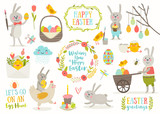 Set of cute Easter cartoon characters and design elements. Easter bunny, chickens, eggs and flowers. Vector illustration.