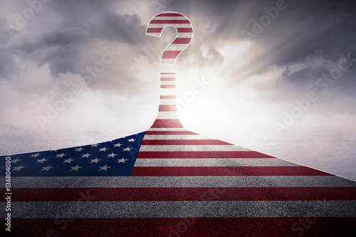 Flag of United States with question mark Poster