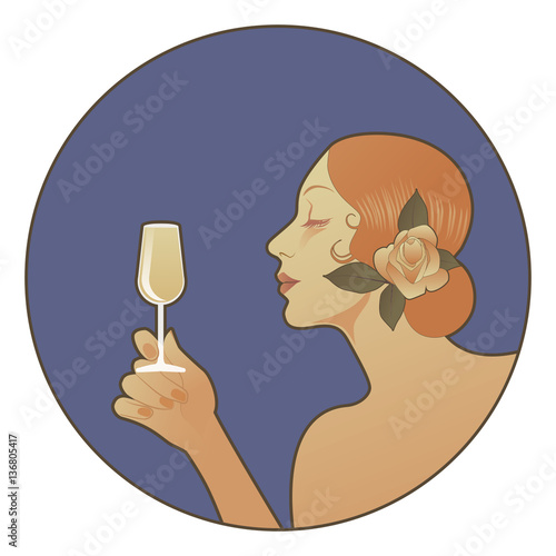 Blonde Spanish woman holding a glass of white wine.
