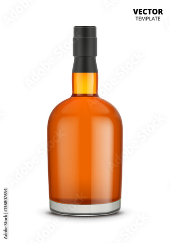 Cognac, whiskey or brandy bottle vector isolated on white background. Glass bottle mockup for design presentation ads.