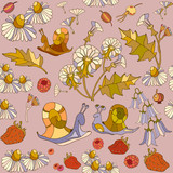 Summer floral seamless pattern - 136807802