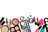 Fototapety Different makeup cosmetics on white background
