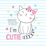 Cute kitty. T-shirt graphic for kid's clothing