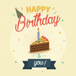 Birthday greeting and invitation card with birthday cake and a candle.