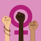 Feminism Power Symbol. Three multicultural women raising fists in solidarity. EPS 10 vector.