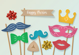 Purim holiday concept with cardboard carnival mask, mustache and
