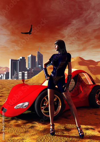 a-sexy-killer-and-her-red-car-in-the-middle-of-a-desertic-land-with-a-futuristic-city-3d-illustration