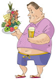 An all inclusive tourist is standing with huge pile of food in the hands. A symbol of food abusing. Character. Cartoon.
