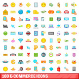 100 e-commerce icons set, cartoon style