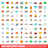 100 industry icons set, cartoon style