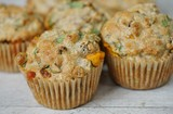 Homemade corn, cheese and spinach savory muffins