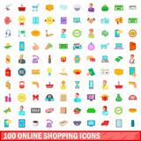 100 online shopping icons set, cartoon style