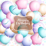 Happy birthday greeting card. Retro vintage pastel party balloons, streamers, transparent frame with stylish lettering. Vector.