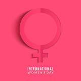 International womens day poster. Woman sign. Origami design template. Happy Mothers Day. Eps10 vector illustration with place for your text.