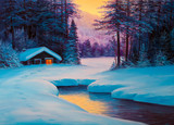 Painting winter forest - 136838013