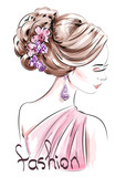 Beautiful hand drawn woman with cute hairstyle. Sketch. Fashion illustration.