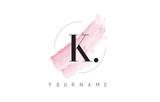 K Letter Logo with Pastel Watercolor Aquarella Brush. - 136841276