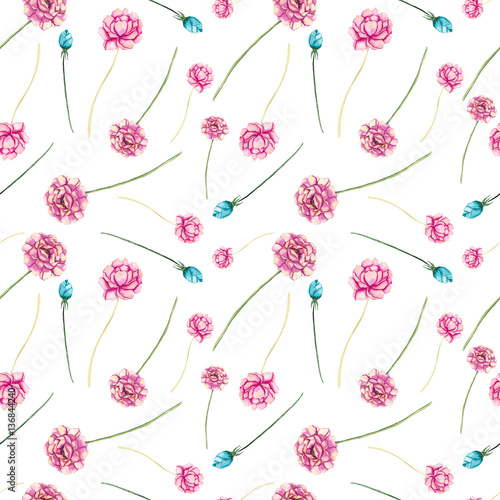 Seamless Pattern of Watercolor Pink Flowers and Buds - 136844240