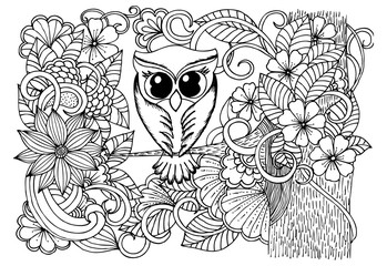 Bird and flowers. Doodle black and white drawing
