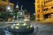 San Antonio courthouse fountain at night