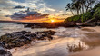 a dramatic sunset on the tropical island of Maui, Hawaii from secret cove