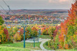 Sherbrooke city from the summit of Mt Bellevue ski resort in Autumn with colorful trees