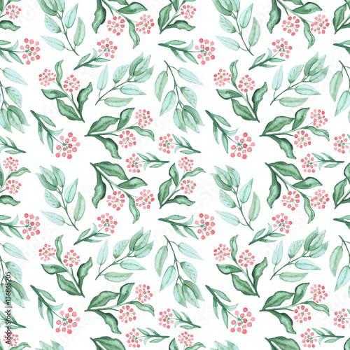 Watercolor Green Leaves And Red Berries Repeat Pattern - 136865205