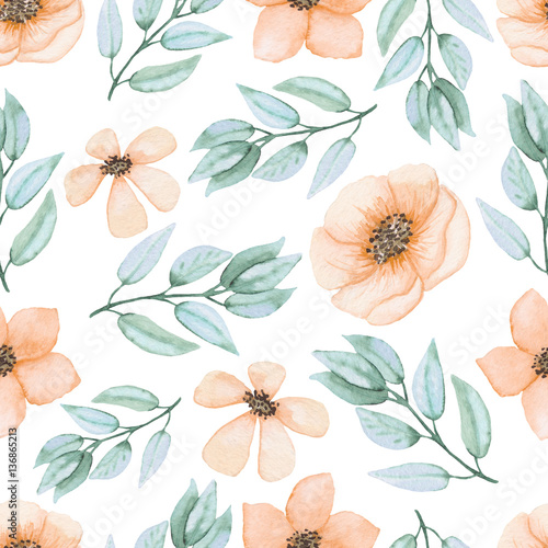 Watercolor Yellow Flowers And Leaves Seamless Pattern - 136865213