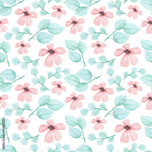 Watercolor Pink Flowers And Green Leaves Seamless Pattern - 136865227