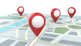 Search and Locate. Map with 4 Large Red GPS Pointers. 3D render, Blank for Copy Space.