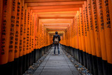 A walking path leads through a tunnel of torii gates at Fushimi Inari Shrine,An important Shinto shrine in southern Kyoto. It is famous for its thousands of vermilion torii gate