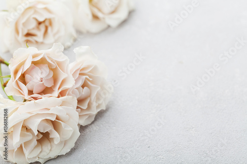Beautiful vintage rose flowers on gray stone table. Floral border. Pastel color.