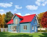 Ein blaues Einfamilienhaus in blühender Natur im Herbst am Tag. - 136883662
