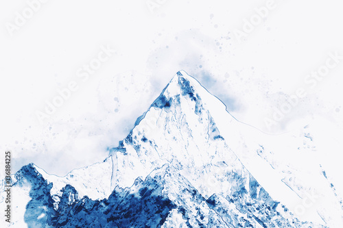 Mountain peak in winter paining in blue tone - 136884225