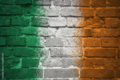 painted national flag of ireland on a brick wall Poster