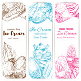 Ice cream sketch banner set for food label design