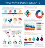 Infographic design elements with map, graph, chart