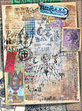 Old fashioned manuscripts with scraps,tarots and mysterious collage