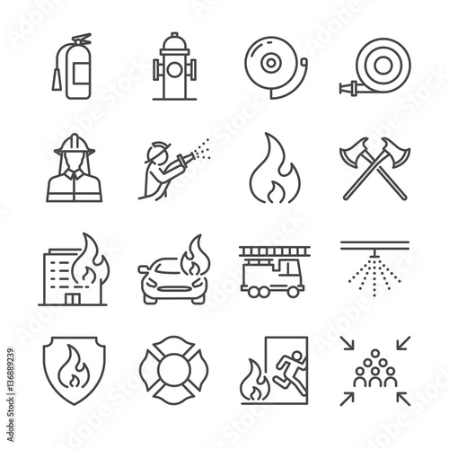 Firefighter and Fire department icons